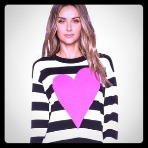 KATE SPADE XL Black Striped Sweater Top Heart
